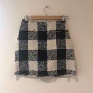 Black & Off White Plaid Checked Mini Skirt